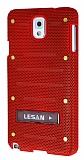 Eiroo Lesan Samsung N9000 Galaxy Note 3 Standlı Metal Delikli Kırmızı Rubber Kılıf
