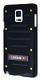 Eiroo Lesan Samsung N9100 Galaxy Note 4 Standlı Metal Delikli Siyah Rubber Kılıf