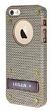 Eiroo Lesan iPhone 5 / 5S Standl� Metal Delikli Gold Rubber K�l�f