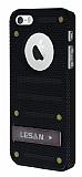 Eiroo Lesan iPhone 5 / 5S Standl� Metal Delikli Siyah Rubber K�l�f