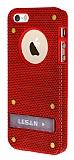 Eiroo Lesan iPhone 5 / 5S Standl� Metal Delikli K�rm�z� Rubber K�l�f