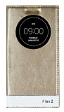 LG G Flex 2 Gizli Mıknatıslı Uyku Modlu Gold Kılıf