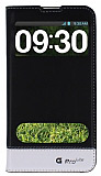 Eiroo LG G Pro Lite Gizli M�knat�sl� �ift Pencereli Siyah Deri K�l�f