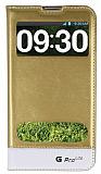 Eiroo LG G Pro Lite Gizli M�knat�sl� �ift Pencereli Gold Deri K�l�f