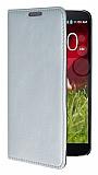 Eiroo LG G2 Gizli M�knat�sl� Standl� Silver Deri K�l�f