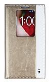 LG G2 Gizli Mıknatıslı Pencereli Gold Deri Kılıf