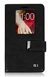 Eiroo LG G2 Buckle Pencereli Standl� Siyah Deri K�l�f