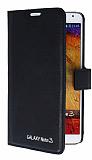 Eiroo Samsung N9000 Galaxy Note 3 Standlı Cüzdanlı Siyah Deri Kılıf