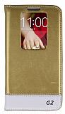 Eiroo LG G2 Gizli M�knat�sl� Pencereli Gold Deri K�l�f