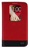 Eiroo LG G2 Gizli M�knat�sl� Pencereli K�rm�z� Deri K�l�f