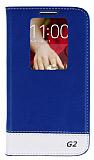 Eiroo LG G2 Gizli M�knat�sl� Pencereli Mavi Deri K�l�f