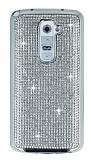 Eiroo LG G2 Taşlı Silver Silikon Kılıf