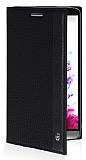 LG G3 Gizli Mıknatıslı İnce Yan Kapaklı Siyah Deri Kılıf