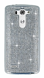 Eiroo LG G3 S / G3 Beat Taşlı Silver Silikon Kılıf