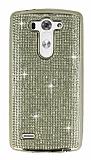 Eiroo LG G3 S / G3 Beat Taşlı Gold Silikon Kılıf