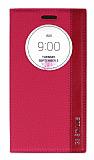 Eiroo LG G3 Stylus Gizli M�knat�sl� Pencereli Pembe Deri K�l�f