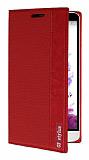 LG G3 Stylus Gizli Mıknatıslı Kırmızı Deri Kılıf
