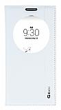 LG G4 Beat Gizli Mıknatıslı Pencereli Beyaz Deri Kılıf