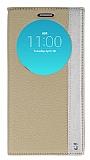 LG G4 Gizli Mıknatıslı Gold Deri Kılıf