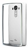 Eiroo LG G4 Gold Çizgili Round Metal Bumper Çerçeve Silver Kılıf