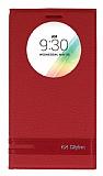 Eiroo Phantom LG G4 Stylus Gizli Mıknatıslı Pencereli Kırmızı Deri Kılıf