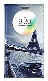 LG G4 Stylus Gizli Mıknatıslı Pencereli Eiffel Deri Kılıf