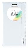 Eiroo LG G4 Stylus Gizli Mıknatıslı Pencereli Beyaz Deri Kılıf