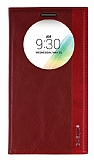 Eiroo LG G4 Stylus Gizli Mıknatıslı Pencereli Kırmızı Deri Kılıf