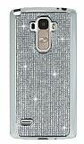 Eiroo LG G4 Stylus Taşlı Silver Silikon Kılıf