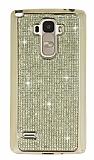 Eiroo LG G4 Stylus Taşlı Gold Silikon Kılıf