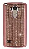 Eiroo LG G4 Stylus Taşlı Rose Gold Silikon Kılıf