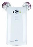 LG G4 Taşlı Kulaklı Mor Silikon Kılıf