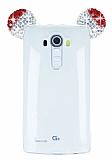 LG G4 Taşlı Kulaklı Kırmızı Silikon Kılıf