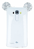 LG G4 Taşlı Kulaklı Silver Silikon Kılıf