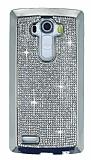 Eiroo LG G4 Taşlı Silver Silikon Kılıf