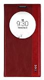 LG G4c Gizli Mıknatıslı Pencereli Kırmızı Deri Kılıf