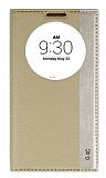 LG G4c Gizli Mıknatıslı Pencereli Gold Deri Kılıf
