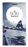 LG G4c Gizli Mıknatıslı Pencereli Eiffel Deri Kılıf