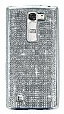 Eiroo LG G4c Taşlı Silver Silikon Kılıf