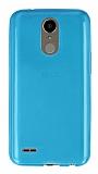 Eiroo LG K10 2017 Ultra İnce Şeffaf Mavi Silikon Kılıf