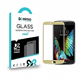 Eiroo LG K10 Curve Tempered Glass Gold Full Cam Ekran Koruyucu