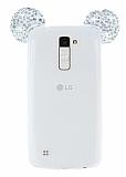 LG K10 Taşlı Kulaklı Silver Silikon Kılıf
