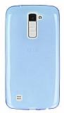 LG K10 Ultra İnce Şeffaf Mavi Silikon Kılıf