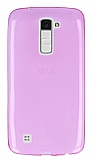 LG K10 Ultra İnce Şeffaf Pembe Silikon Kılıf