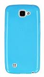 LG K4 Ultra İnce Şeffaf Mavi Silikon Kılıf