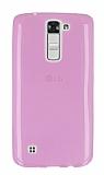 LG K7 Ultra İnce Şeffaf Pembe Silikon Kılıf