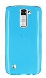 LG K7 Ultra İnce Şeffaf Mavi Silikon Kılıf