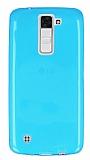 LG K8 Ultra İnce Şeffaf Mavi Silikon Kılıf