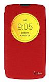 Eiroo LG L Fino Vantuzlu Pencereli Kırmızı Deri Kılıf
