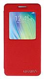 Eiroo Samsung Galaxy A5 Vantuzlu Pencereli Kırmızı Deri Kılıf